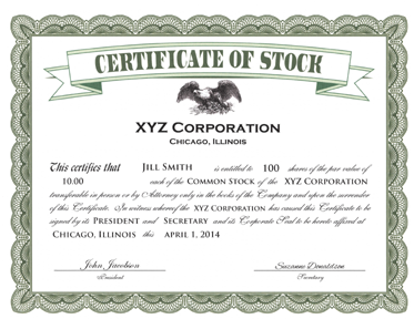 Awesome EXAMPLE OF A STOCK CERTIFICATE Photo Gallery